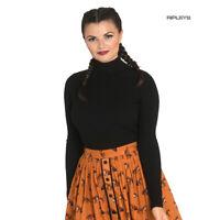 Hell Bunny Shirt 50s Rib Polo Neck Top SPIROS Plain Black Long Sleeves All Sizes