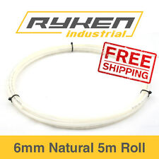 6mm Hose Flexible - Nylon - Natural / Tube -Pneumatic Air Line / 5m Roll