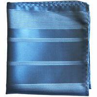 New men's polyester woven striped blue hankie pocket square formal party