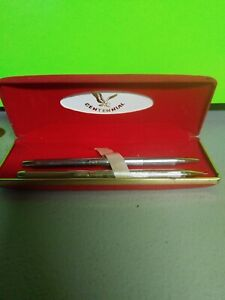 Centennial Silver Chrome Mechanical Pen/Pencil Set In Red Velvet Box - Vintage