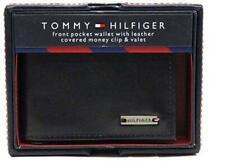 NEW TOMMY HILFIGER MEN'S LEATHER CREDIT CARD WALLET MONEY CLIP BLACK 31HP16X001