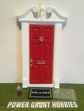 FAIRY DOOR LIGHT RED DEERFIELD STYLE WITH GOLD KEY, MAT, FAIRY DUST & FOOT STEP