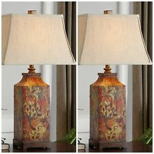 Two New Rich Floral Print Table Lamps Ivory Linen Shades Reading Desk Lighting