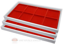 (3) White Plastic Stackable Trays w/8 Compartments Red Jewelry Display Inserts