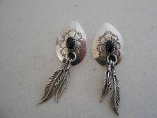 Feather Dangles Earrings 240105 Southwest Sterling Silver Black Onyx
