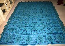 Awesome Vintage Blue & Green Tapestry Twin Size Bedspread Coverlet Pristine Cond