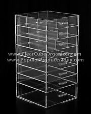 ACRYLIC LUCITE CLEAR CUBE MAKEUP ORGANIZER 8 PullOut Drawers