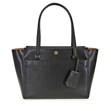 Tory Burch Parker Small Leather Tote - Black / Cardamom