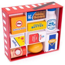 Baker's Mart Ingredient Set   9 Pc Set of Wooden Ingredients   Pretend Food Toys