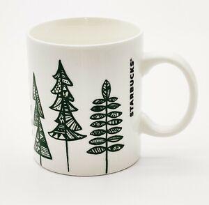 Starbucks Pine Trees Green White Coffee Mug Cup 2015 Christmas 12oz