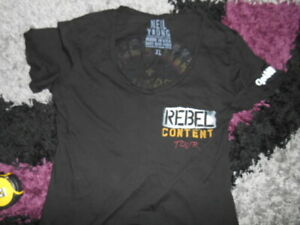 NEIL YOUNG  REBEL CONTENT TOUR  LADIES T- SHIRT SIZE  36 INCH CHEST ,rock.metal