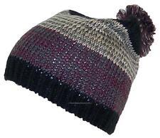 D&Y Adult Variegated Stripes Knit Winter Beanie Hat W/Pom Pom, Snow, #864 Black