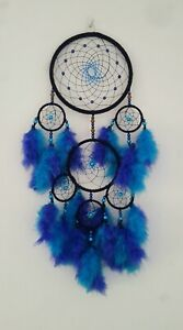 Large Blue Dream Catcher Home Bedroom wall Decor Handmade feathers