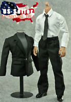 "1/6 Men Black Color Suit Full Set For 12"" Hot Toys Phicen Male Figure ❶USA❶"