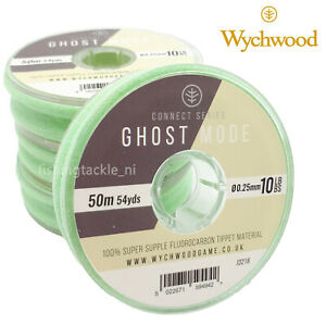 Wychwood Ghost Mode Fluorocarbon Tippet 50m Spools Fly Fishing Leader 4lb - 10lb