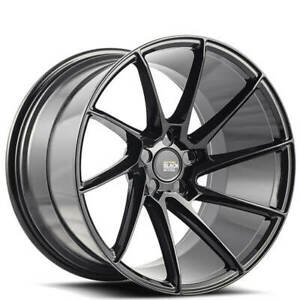 "(4) 19"" Staggered Savini Wheels BM15 Gloss Black Concave Rims (B13)"
