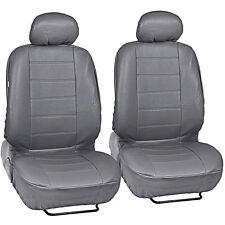 Car Seat Covers Front Pair - Leatherette Synth - Gray Arm Rest Slot Premium PU