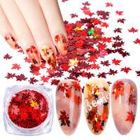 HN- KF_ Autumn Glitter Gradient Maple Leaf Nail Art Sequins Applique Christmas D