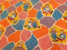 Raggedy Ann Andy Vintage Twin Flat sheet fabric material