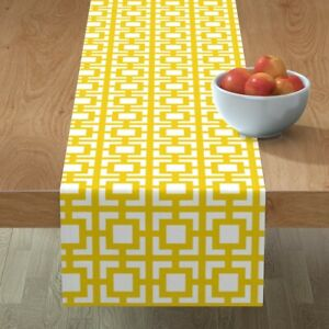 Table Runner Moroccan Square Modern Decor Pearlphire Squares Cotton Sateen