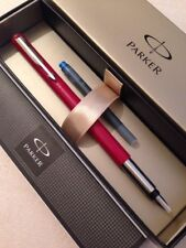 PARKER VECTOR RED CT EXTRA BROAD ITALIC FOUNTAIN PEN-GIFT BOX-NEW OLD STOCK