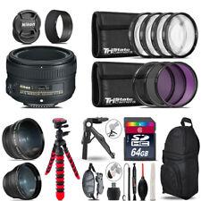 Nikon AF-S 50mm 1.8G - 3 Lens Kit + Tripod + Backpack - 64GB Accessory Bundle