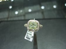 14 KARAT WHITE GOLD PRINCESS CUT MOISANITE AND DIAMOND ENGAGEMENT RING SIZE 7.0!