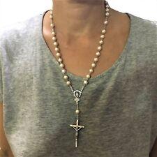 Collana rosario di perle bianche tonde da donna girocollo con crocifisso metallo