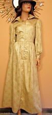 Vtg 70s Shirtwaist Fitted Cotton Maxi Victorian Boho Poet Sleeve Hostess Dress