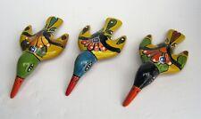 SET OF THREE (3) MEXICAN TALAVERA POTTERY SMALL HUMMINGBIRD SCULPTURES