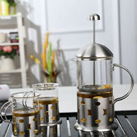 350ml/800ml Stainless Steel Glass Cafetiere French Filter Coffee Press Plunger b