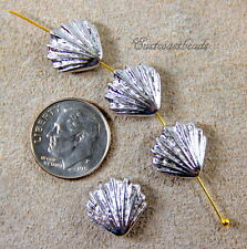 Large Shell Bead,13mm, TierraCast, Silver Plated, 4 Pieces 7961