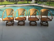 Lexington Classic Bamboo Rattan Wood Swivel Chairs no Cushions Vintage Set Of 4