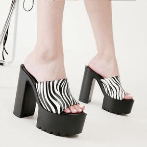 Women Block Super High Heel Platform Mules Zebra Striped Sandals Peep Toe Party