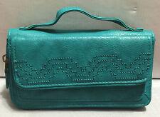 Rolfs Ladies Teal Faux Leather Clutch Wallet Checkbook Organizer Zip Around
