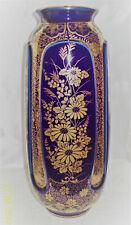 Cobalt Blue & Gold Gilt Stunning 30cm Vase - Base Signed - Japan