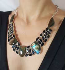 BIG Blue Labradorite & Black Tourmaline Sterling Silver Collar Cocktail Necklace