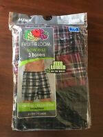 NWT FRUIT OF THE LOOM MENS Low Rise 3-pairs BOXERS Plaid Woven LARGE 38-40