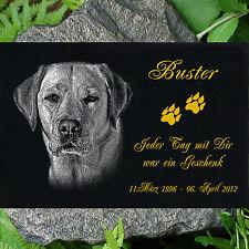 GRANIT GRABSTEIN Grabdekoration Tiergrabstein Hund g39 ►30 x 20 cm◄ Foto Gravur