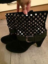 Stivaletti neri scamosciati borchie black suede studded ankle boots UK4 EU37