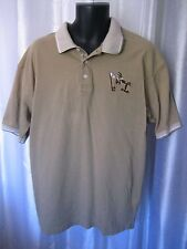 Looney Tunes Wile E Coyote Tan Golf Shirt Short Sleeve Sz L 100% Cotton Pre-Own