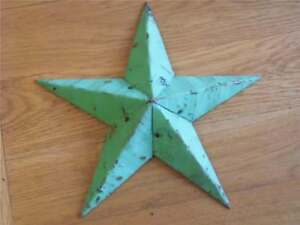HAND CRAFTED SHABBY VINTAGE CHIC AMISH TIN BARN STAR ORIGINAL GREEN CHIPPY PAINT