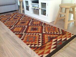 The Alwar Wool Kilim Brown Orange Cream Geometric Small Large Rug or Runner