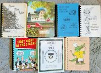 7 VINTAGE SPIRAL COOKBOOKS LOT COMMUNITY LOCAL COOK BOOK VTG HTF RECIPES