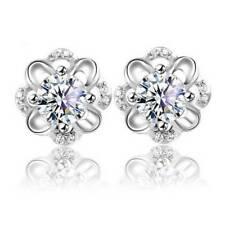 Studs Flower Shape Charm Jewelry Ornam Womens Earring Fashion Silver Crystal Ear