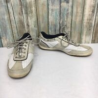Sperry Top Sider Women's 9 Beige Leather Lace Up Sneaker Boat Shoes CH196