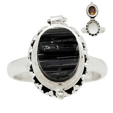 Poison Ring - Black Tourmaline 925 Sterling Silver Ring Jewelry s.8 25671R