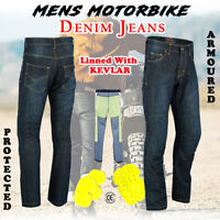 Men's Motorbike Motorcycle jeans Reinforced Denim CE Protective Lining Trouser