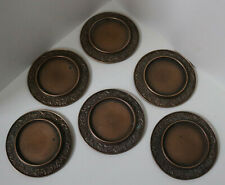 ANTIQUE SET OF 6 BRONZE COPPER WINE COASTERS / OLD VICTORIAN DRINKS ORNATE RARE