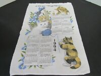 "Vintage Linen 1994 Calendar Tea Towel ~ Kay Dee RB Cats Eccl. 3:11 ~ 22.5 x 16"""